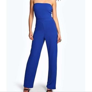 Boohoo Carly Bandeau Wide Leg Jumpsuit